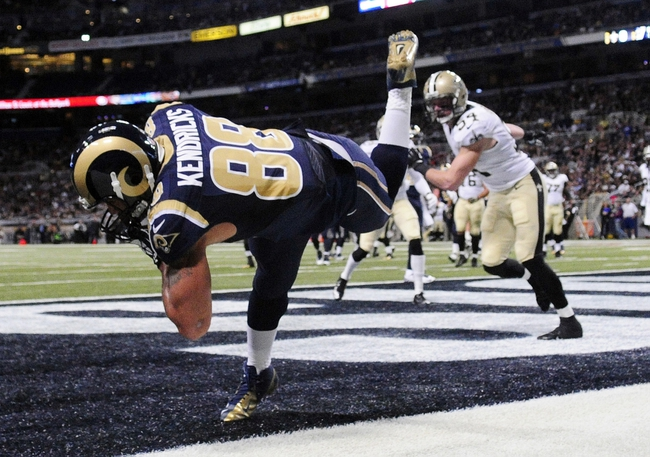 Dec 15, 2013; St. Louis, MO, USA; St. Louis Rams tight end Lance Kendricks (88) catches a four yard touchdown pass against the New Orleans Saints during the first half at the Edward Jones Dome. Mandatory Credit: Jeff Curry-USA TODAY Sports