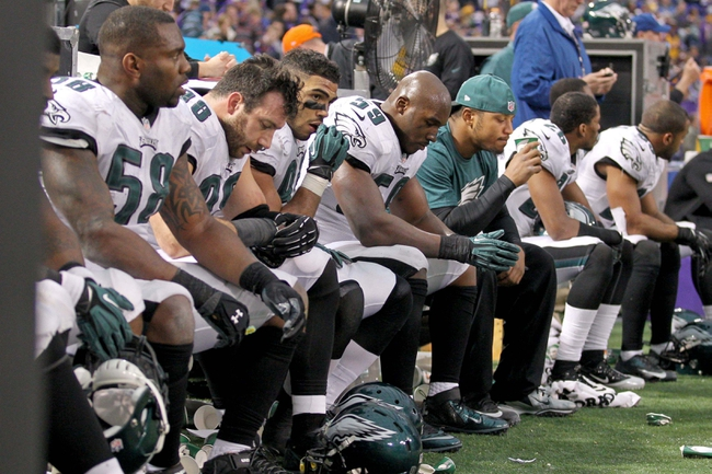 uDec 15, 2013; Minneapolis, MN, USA; The Philadelphia Eagles defense looks on during the fourth quarter against the Minnesota Vikings at Mall of America Field at H.H.H. Metrodome. The Vikings defeated the Eagles 48-30. Mandatory Credit: Brace Hemmelgarn-USA TODAY Sports