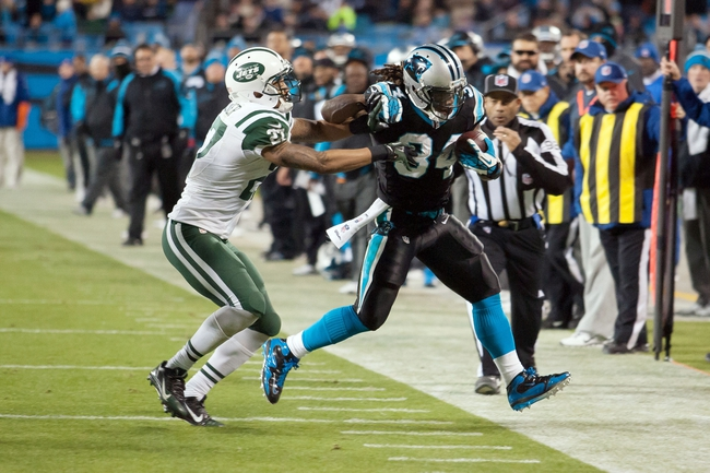 Dec 15, 2013; Charlotte, NC, USA; Carolina Panthers running back DeAngelo Williams (34) runs the ball while New York Jets cornerback Dee Milliner (27) pursues during the third quarter at Bank of America Stadium. Panthers defeated the Jets 30-20. Mandatory Credit: Jeremy Brevard-USA TODAY Sports