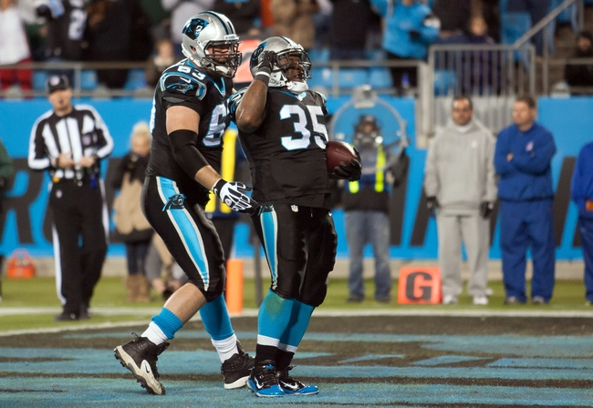 Dec 15, 2013; Charlotte, NC, USA; Carolina Panthers fullback Mike Tolbert (35) celebrates after scoring a touchdown during the fourth quarter against the New York Jets at Bank of America Stadium. Panthers defeated the Jets 30-20. Mandatory Credit: Jeremy Brevard-USA TODAY Sports