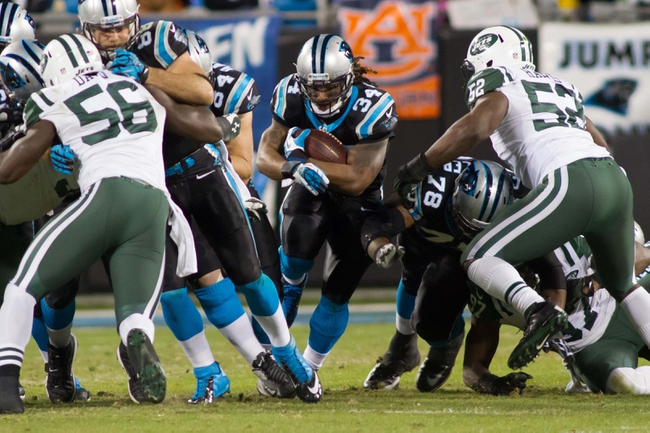 Dec 15, 2013; Charlotte, NC, USA; Carolina Panthers running back DeAngelo Williams (34) runs the ball during the third quarter against the New York Jets at Bank of America Stadium. Panthers defeated the Jets 30-20. Mandatory Credit: Jeremy Brevard-USA TODAY Sports