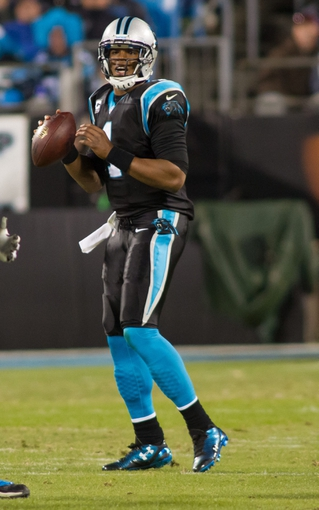 Dec 15, 2013; Charlotte, NC, USA; Carolina Panthers quarterback Cam Newton (1) looks to pass the ball during the third quarter against the New York Jets at Bank of America Stadium. Panthers defeated the Jets 30-20. Mandatory Credit: Jeremy Brevard-USA TODAY Sports