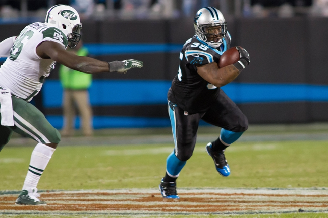 Dec 15, 2013; Charlotte, NC, USA; Carolina Panthers fullback Mike Tolbert (35) runs the ball while New York Jets defensive end Muhammad Wilkerson (96) pursues at Bank of America Stadium. Panthers defeated the Jets 30-20. Mandatory Credit: Jeremy Brevard-USA TODAY Sports