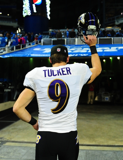 Dec 16, 2013; Detroit, MI, USA; Baltimore Ravens kicker Justin Tucker (9) jogs off the field after kicking a 61 yard field goal during the fourth quarter against the Detroit Lions at Ford Field. Baltimore Ravens defeated the Detroit Lions 18-16. Mandatory Credit: Andrew Weber-USA TODAY Sports