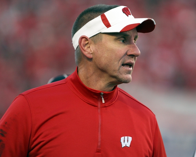 Nov 30, 2013; Madison, WI, USA; Wisconsin Badgers head coach Gary Andersen during the game with Pen State at Camp Randall Stadium. Penn State defeated Wisconsin 31-24. Mandatory Credit: Mary Langenfeld-USA TODAY Sports