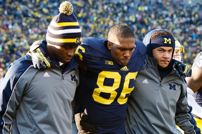Nov 30, 2013; Ann Arbor, MI, USA; Michigan Wolverines wide receiver Jehu Chesson (86) after the game against the Ohio State Buckeyes at Michigan Stadium. Mandatory Credit: Rick Osentoski-USA TODAY Sports