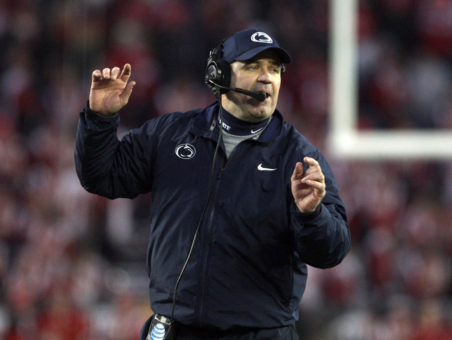 Nov 30, 2013; Madison, WI, USA; Penn State Nittany Lions head coach Bill O'Brien during the game with the Wisconsin Badgers at Camp Randall Stadium. Penn State defeated Wisconsin 31-24. Mandatory Credit: Mary Langenfeld-USA TODAY Sports