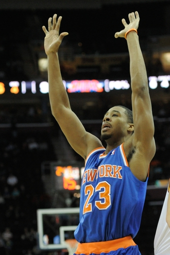 Dec 10, 2013; Cleveland, OH, USA; New York Knicks shooting guard Toure' Murry  during a game against the Cleveland Cavaliers at Quicken Loans Arena. Mandatory Credit: David Richard-USA TODAY Sports