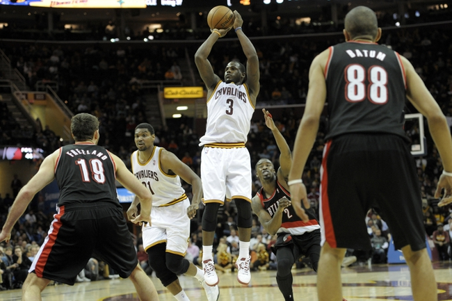 Dec 17, 2013; Cleveland, OH, USA; Cleveland Cavaliers shooting guard Dion Waiters (3) shoots in the fourth quarter against the Portland Trail Blazers at Quicken Loans Arena. Mandatory Credit: David Richard-USA TODAY Sports