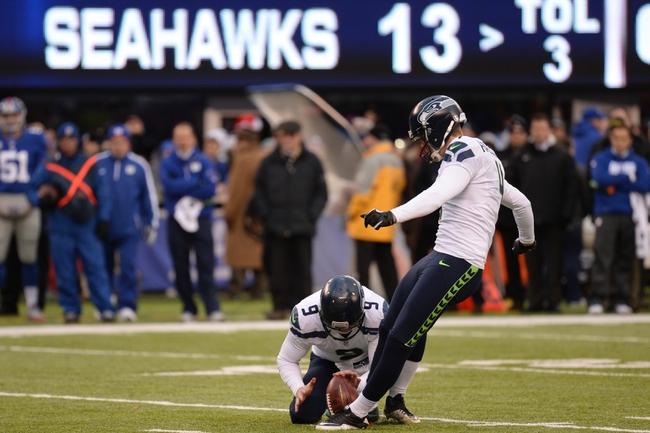 Dec 15, 2013; East Rutherford, NJ, USA; Seattle Seahawks kicker Steven Hauschka (4) kicks a field goal against the New York Giants at MetLife Stadium. The Seahawks won the game 23-0. Mandatory Credit: Joe Camporeale-USA TODAY Sports
