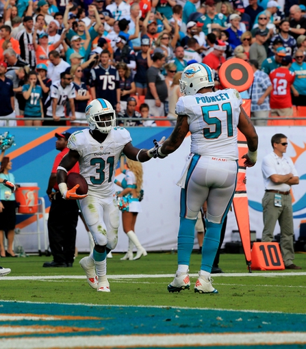 Dec 15, 2013; Miami Gardens, FL, USA:  Miami Dolphins defensive back Michael Thomas (31) reacts after his interception late in the fourth quarter against the New England Patriots with center Mike Pouncey (51) at Sun Life Stadium. The Dolphins won 24-20. Mandatory Credit: Robert Mayer-USA TODAY Sports