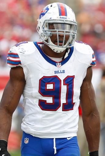Dec 8, 2013; Tampa, FL, USA; Buffalo Bills outside linebacker Manny Lawson (91) against the Tampa Bay Buccaneers during the second half at Raymond James Stadium. Tampa Bay Buccaneers defeated the Buffalo Bills 27-6. Mandatory Credit: Kim Klement-USA TODAY Sports