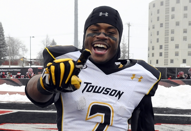 Dec 21, 2013; Cheney, WA, USA; Towson Tigers wide receiver Derrick Joseph (2) celebrates after a game against the Eastern Washington Eagles during the second half at Roos Field. The Tiger beat Eagles 35-31. Mandatory Credit: James Snook-USA TODAY Sports