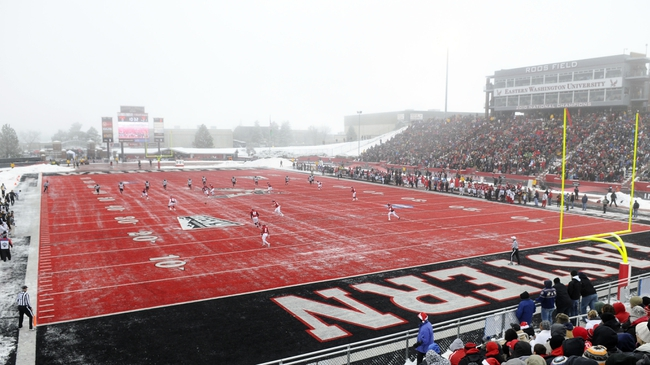 Dec 21, 2013; Cheney, WA, USA; Towson Tigers kicks the ball off after a score against the Eastern Washington Eagles during the first half at Roos Field. Mandatory Credit: James Snook-USA TODAY Sports