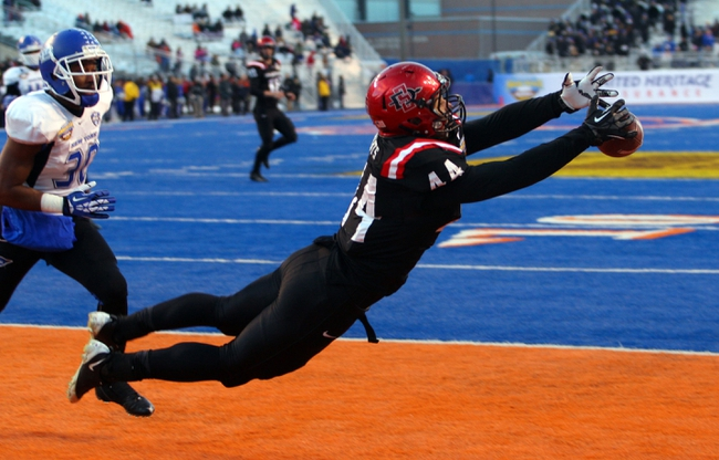 Dec 21, 2013; Boise, ID, USA; San Diego State Aztecs tight end Adam Roberts (44) cannot catch a pass in the end zone during the first half of the Idaho Potato Bowl against the Buffalo Bulls at Bronco Stadium. Mandatory Credit: Brian Losness-USA TODAY Sports