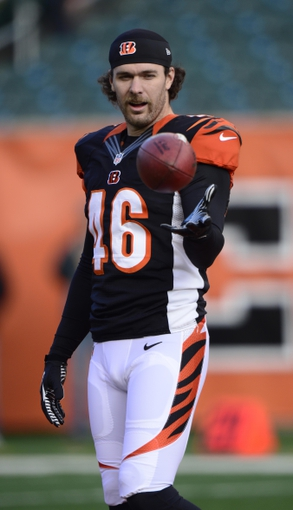 Dec 8, 2013; Cincinnati, OH, USA; Cincinnati Bengals long snapper Clark Harris (46) warms up before the game against the Minnesota Vikings at Paul Brown Stadium. Mandatory Credit: Marc Lebryk-USA TODAY Sports