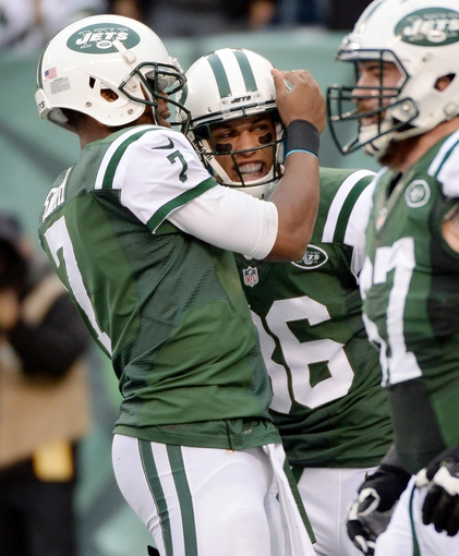 Dec 22, 2013; East Rutherford, NJ, USA; New York Jets wide receiver David Nelson (86) is congratulated by quarterback Geno Smith (7) after a touchdown against the Cleveland Browns in the first half during the game at MetLife Stadium. Mandatory Credit: Robert Deutsch-USA TODAY Sports