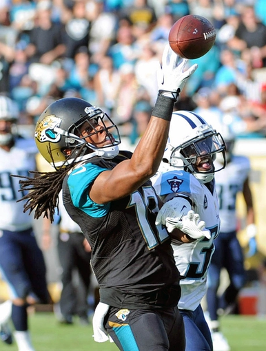 Dec 22, 2013; Jacksonville, FL, USA; Jacksonville Jaguars wide receiver Mike Brown (12) goes up for the ball against Tennessee Titans cornerback Jason McCourty (30) during the second half at EverBank Field. Mandatory Credit: Melina Vastola-USA TODAY Sports