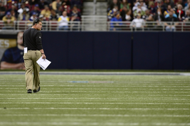 Dec 22, 2013; St. Louis, MO, USA; Tampa Bay Buccaneers head coach Greg Schiano looks on as his team plays the St. Louis Rams during the second half at the Edward Jones Dome. The Rams defeated the Buccaneers 23-13. Mandatory Credit: Jeff Curry-USA TODAY Sports