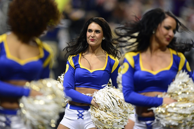 Dec 22, 2013; St. Louis, MO, USA; St. Louis Rams cheerleader performs during the second half of a game against the Tampa Bay Buccaneers at the Edward Jones Dome. The Rams defeated the Buccaneers 23-13. Mandatory Credit: Jeff Curry-USA TODAY Sports