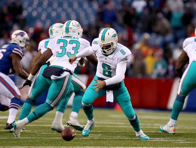 Dec 22, 2013; Orchard Park, NY, USA; Miami Dolphins quarterback Matt Moore (8) fumbles the snap during the second half against the Buffalo Bills at Ralph Wilson Stadium. Buffalo beats Miami 19-0.  Mandatory Credit: Timothy T. Ludwig-USA TODAY Sports
