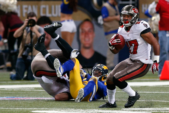 Dec 22, 2013; St. Louis, MO, USA; Tampa Bay Buccaneers wide receiver Eric Page (17) carries the ball against the St. Louis Rams at the Edward Jones Dome. Mandatory Credit: Scott Kane-USA TODAY Sports