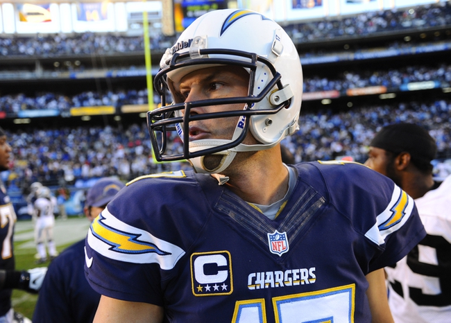 Dec 22, 2013; San Diego, CA, USA; San Diego Chargers quarterback Philip Rivers (17) after a win against the Oakland Raiders at Qualcomm Stadium. The Chargers won 26-13. Mandatory Credit: Christopher Hanewinckel-USA TODAY Sports