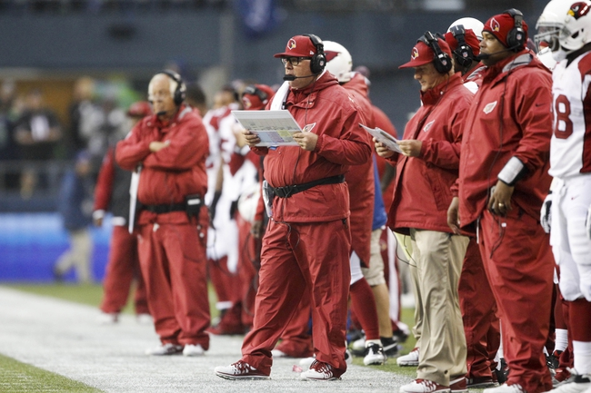 Dec 22, 2013; Seattle, WA, USA; Arizona Cardinals head coach Bruce Arians stands on the sideline during the fourth quarter against the Seattle Seahawks at CenturyLink Field. Mandatory Credit: Joe Nicholson-USA TODAY Sports