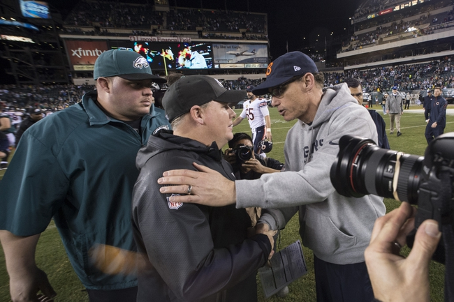 Dec 22, 2013; Philadelphia, PA, USA; Philadelphia Eagles head coach Chip Kelly and Chicago Bears head coach Marc Trestman speak after the game at Lincoln Financial Field. Philadelphia Eagles defeated the Chicago Bears 54-11. Mandatory Credit: Tommy Gilligan-USA TODAY Sports