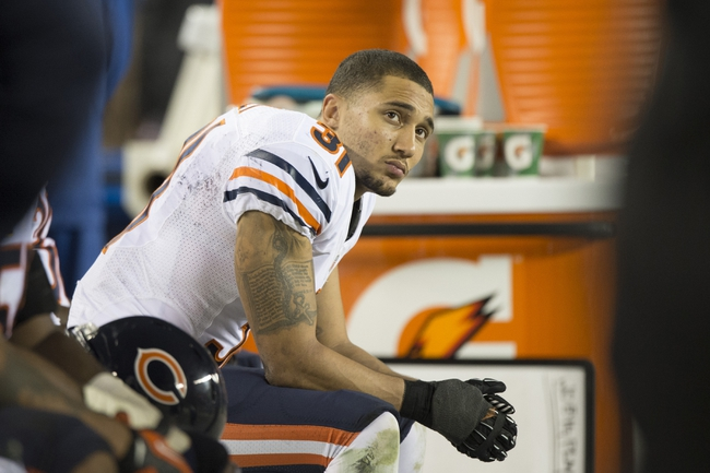 Dec 22, 2013; Philadelphia, PA, USA; Chicago Bears cornerback Isaiah Frey (31) sits on the bench towards of the fourth quarter  at Lincoln Financial Field. Philadelphia Eagles defeated the Chicago Bears 54-11. Mandatory Credit: Tommy Gilligan-USA TODAY Sports