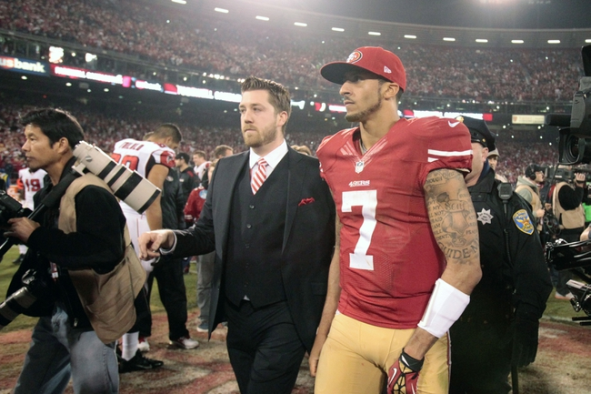 Dec 23, 2013; San Francisco, CA, USA; San Francisco 49ers quarterback Colin Kaepernick (7) after the final regular season game against the Atlanta Falcons at Candlestick Park. The San Francisco 49ers defeated the Atlanta Falcons 34-24. Mandatory Credit: Kelley L Cox-USA TODAY Sports