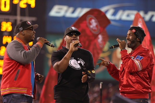 Dec 23, 2013; San Francisco, CA, USA; Musical group Boyz II Men perform after the final regular season game between the San Francisco 49ers and the Atlanta Falcons at Candlestick Park. The San Francisco 49ers defeated the Atlanta Falcons 34-24. Mandatory Credit: Kelley L Cox-USA TODAY Sports