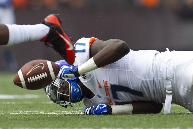 Dec 24, 2013; Honolulu, HI, USA; Boise State Broncos wide receiver Geraldo Boldewijn (17) cannot hold onto a pass in the 2nd quarter of the 2013 Hawaii Bowl against the Oregon State Beavers at Aloha Stadium. Mandatory Credit: Marco Garcia-USA TODAY Sports