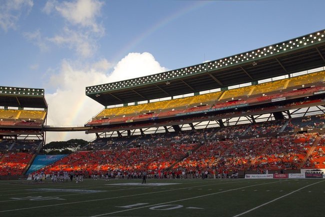 Dec 24, 2013; Honolulu, HI, USA; A general view as a rainbow appears over Aloha Stadium during the 2013 Hawaii Bowl between the Boise State Broncos and Oregon State Beavers.  Mandatory Credit: Marco Garcia-USA TODAY Sports