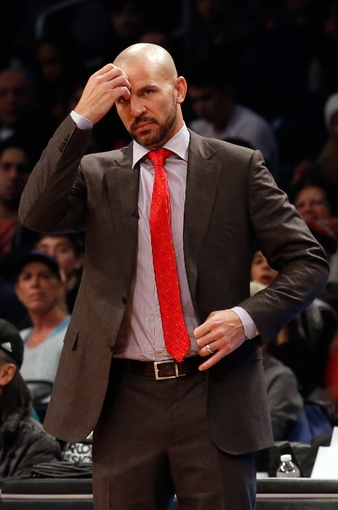 Dec 25, 2013; Brooklyn, NY, USA; Brooklyn Nets head coach Jason Kidd reacts during the first quarter against the Chicago Bulls  at Barclays Center. Mandatory Credit: Anthony Gruppuso-USA TODAY Sports
