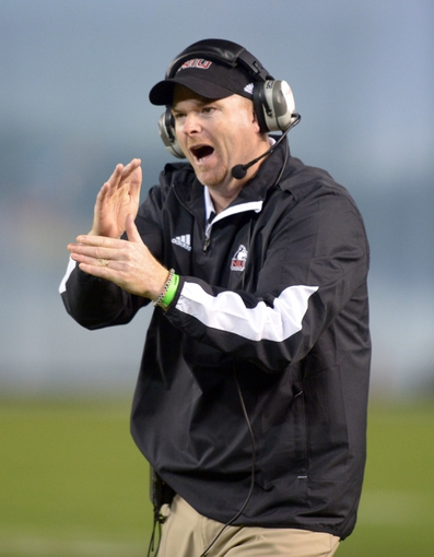 Dec 26, 2013; San Diego, CA, USA; Northern Illinois Huskies coach Rod Carey reacts during the 2013 Poinsettia Bowl against the Utah State Aggies at Qualcomm Stadium. Mandatory Credit: Kirby Lee-USA TODAY Sports