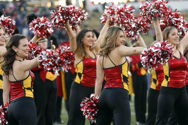 Dec 27, 2013; Annapolis, MD, USA; The Maryland Terrapins cheerleaders dance on the field during a stoppage in play against the Marshall Thundering Herd during the 2013 Military Bowl at Navy Marine Corps Memorial Stadium. Mandatory Credit: Geoff Burke-USA TODAY Sports
