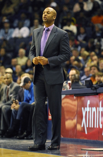 Dec 28, 2013; Memphis, TN, USA; Denver Nuggets head coach Brian Shaw during the second quarter against the Memphis Grizzlies at FedExForum. Mandatory Credit: Justin Ford-USA TODAY Sports