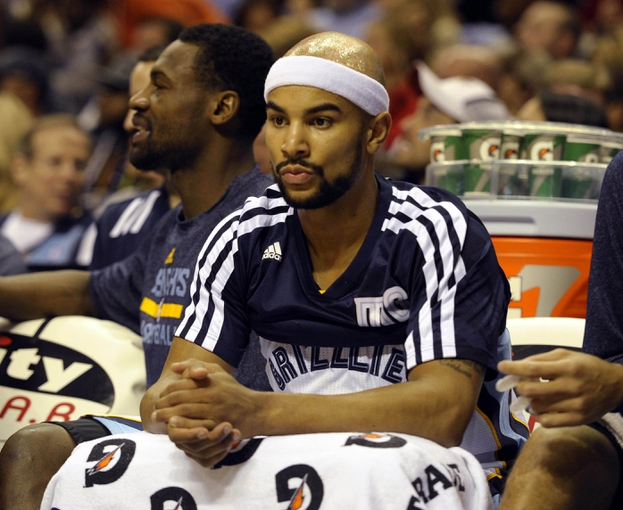 Dec 28, 2013; Memphis, TN, USA; Memphis Grizzlies point guard Jerryd Bayless (7) on the bench during the fourth quarter against the Denver Nuggets at FedExForum. Memphis Grizzlies beat the Denver Nuggets 120-99. Mandatory Credit: Justin Ford-USA TODAY Sports