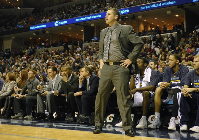 Dec 28, 2013; Memphis, TN, USA; Memphis Grizzlies head coach David Joerger during the fourth quarter against the Denver Nuggets at FedExForum. Memphis Grizzlies beat the Denver Nuggets 120-99. Mandatory Credit: Justin Ford-USA TODAY Sports