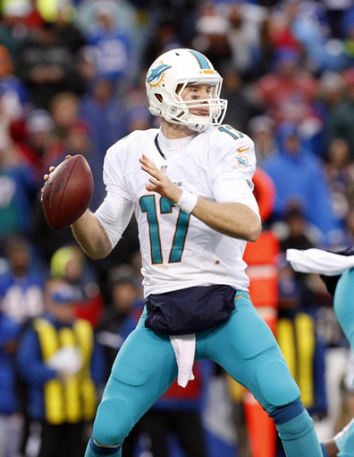 Dec 22, 2013; Orchard Park, NY, USA; Miami Dolphins quarterback Ryan Tannehill (17) drops to pass during the second half against the Buffalo Bills at Ralph Wilson Stadium. Bills beat the Dolphins 19-0. Mandatory Credit: Kevin Hoffman-USA TODAY Sports