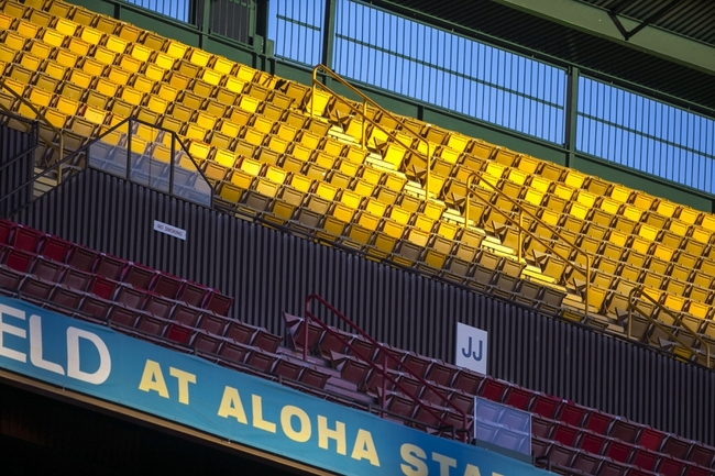 Dec 24, 2013; Honolulu, HI, USA; The top tier seating at Aloha Stadium remained empty during the 2013 Hawaii Bowl between Oregon State Beavers and the Boise State Broncos. Mandatory Credit: Marco Garcia-USA TODAY Sports