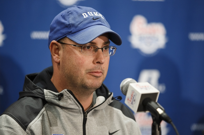Dec 29, 2013; Atlanta, GA, USA; Duke Blue Devils offensive coordinator Kurt Roper speaks at a news conference for the Chick-fil-A Bowl from the Sheraton Hotel. Duke will face off against Texas A&M in the 2013 Chick-fil-A Bowl on New Years Eve. Mandatory Credit: Paul Abell-USA TODAY Sports