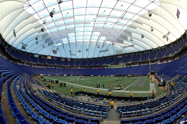 Dec 29, 2013; Minneapolis, MN, USA; A general view of the Metrodome following the game between the Minnesota Vikings and the Detroit Lions at Mall of America Field at H.H.H. Metrodome. The Vikings defeated the Lions 14-13. Mandatory Credit: Brace Hemmelgarn-USA TODAY Sports