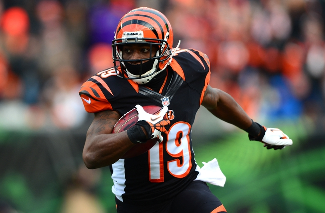 Dec 29, 2013; Cincinnati, OH, USA; Cincinnati Bengals wide receiver Brandon Tate (19) runs with the ball during the third quarter against the Baltimore Ravens at Paul Brown Stadium. The Bengals won 34-17. Mandatory Credit: Andrew Weber-USA TODAY Sports