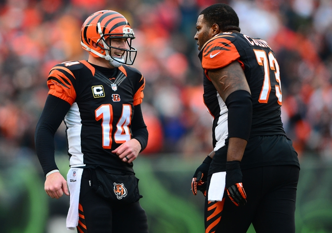 Dec 29, 2013; Cincinnati, OH, USA; Cincinnati Bengals quarterback Andy Dalton (14) celebrates after a touchdown with tackle Anthony Collins (73) during the third quarter against the Baltimore Ravens at Paul Brown Stadium. The Bengals won 34-17. Mandatory Credit: Andrew Weber-USA TODAY Sports
