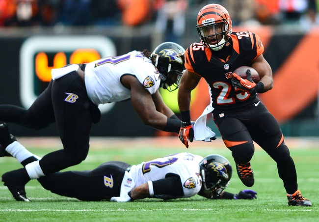 Dec 29, 2013; Cincinnati, OH, USA; Cincinnati Bengals running back Gio Bernard (25) runs the ball during the third quarter against the Baltimore Ravens at Paul Brown Stadium. The Bengals won 34-17. Mandatory Credit: Andrew Weber-USA TODAY Sports