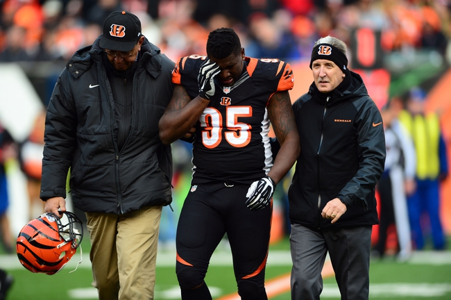 Dec 29, 2013; Cincinnati, OH, USA; Cincinnati Bengals defensive end Wallace Gilberry (95) is helped off the field after an injury during the fourth quarter against the Baltimore Ravens at Paul Brown Stadium. The Bengals won 34-17. Mandatory Credit: Andrew Weber-USA TODAY Sports