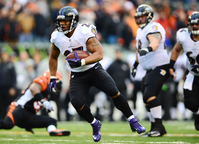Dec 29, 2013; Cincinnati, OH, USA; Baltimore Ravens running back Ray Rice (27) runs the ball during the fourth quarter against the Cincinnati Bengals at Paul Brown Stadium. Bengals defeated the Ravens 34-17. Mandatory Credit: Andrew Weber-USA TODAY Sports