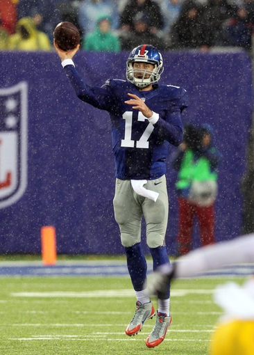Dec 29, 2013; East Rutherford, NJ, USA; New York Giants quarterback Curtis Painter (17) throws a pass against the Washington Redskins during the third quarter of a game at MetLife Stadium. The Giants defeated the Redskins 20-6. Mandatory Credit: Brad Penner-USA TODAY Sports